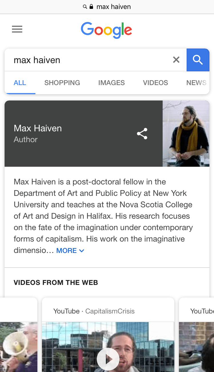 Max Haiven is part of the conference program of transmediale 2018 face value.