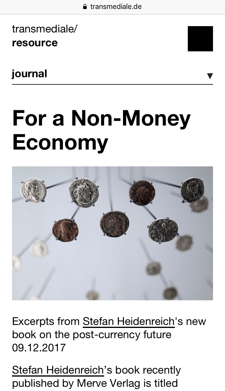 Stefan Heidenreich contributes to the transmediale/journal with an excerpt of his recently published book Money.