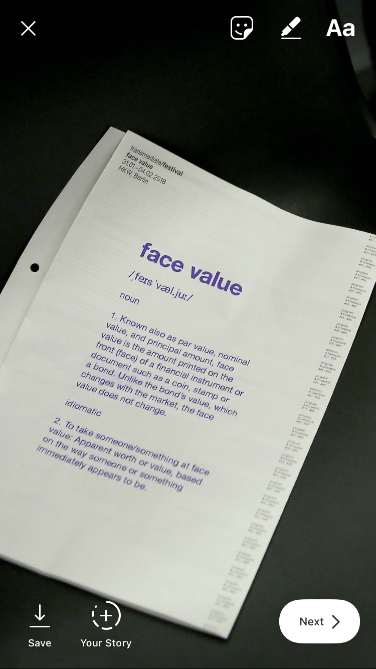 transmediale 2018 face value print schedule