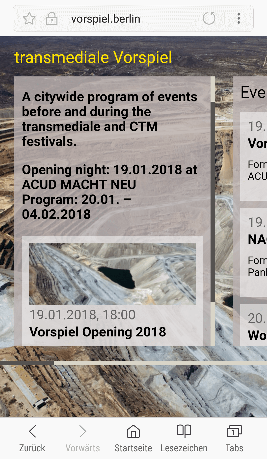 Vorspiel 2018 – A citywide program of events before and during the transmediale and CTM festivals.