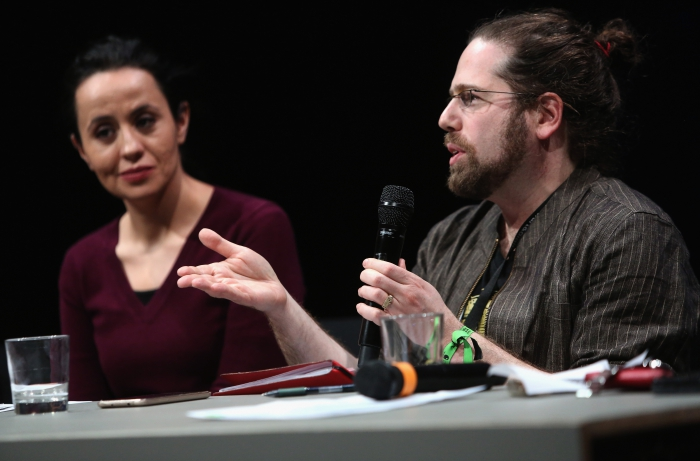 "Amel Ouaïssa (left) and Max Haiven (right) at the panel ""The Violent Imagination of Financial Capitalism"" at transmediale 2018"