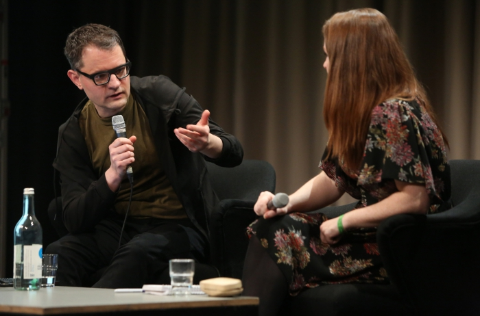 """Florian Cramer (left) in discussion with Angela Nagle (right) at """"Better Think Twice: Subcultures, Alt-s, and the Politics of Transgression"""", transmediale 2018 face value"""