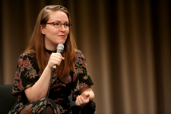 """Angela Nagle at the discussion """"Better Think Twice: Subcultures, Alt-s, and the Politics of Transgression"""" at transmediale 2018 face value"""