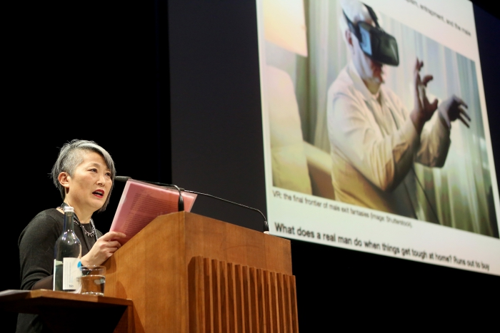 "Lisa Nakamura delivering her keynote ""Call Out, Protest, Speak Back"" at transmediale 2018 face value"