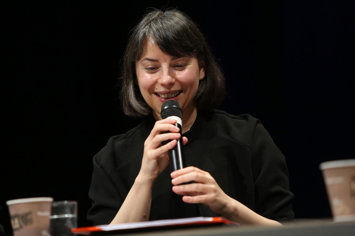"Ana Teixeira Pinto during the panel ""Biased Futures"" at transmediale 2018 face value."