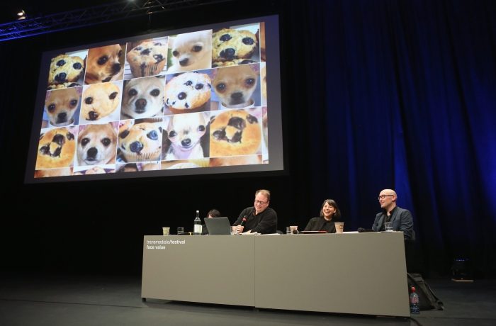 """Impression of the panel """"Biased Futures"""" at transmediale 2018 face value."""